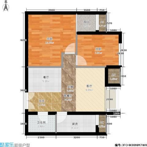 东亚望京中心2室1厅1卫1厨78.00㎡户型图