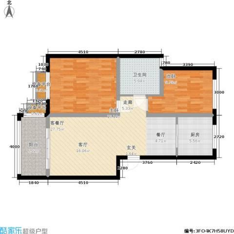 兴达广场2室1厅1卫1厨103.00㎡户型图