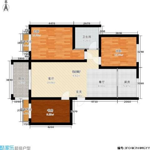 兴达广场3室1厅1卫1厨122.00㎡户型图