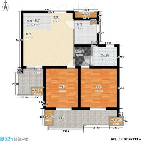 绿地商务城2室1厅1卫1厨91.00㎡户型图