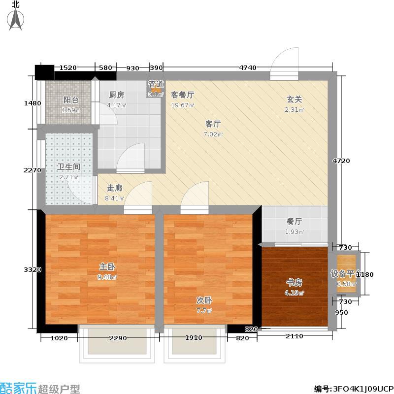 恒禾皇冠国际社区72.00㎡K4户型2室1厅