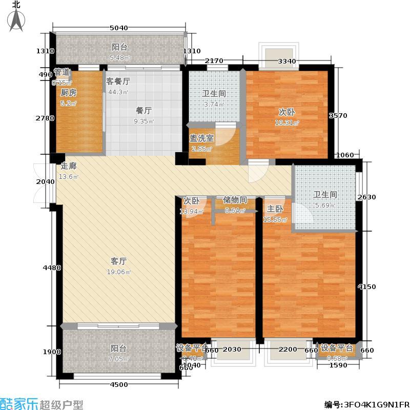 扬州国际公馆128.00㎡二期C2户型