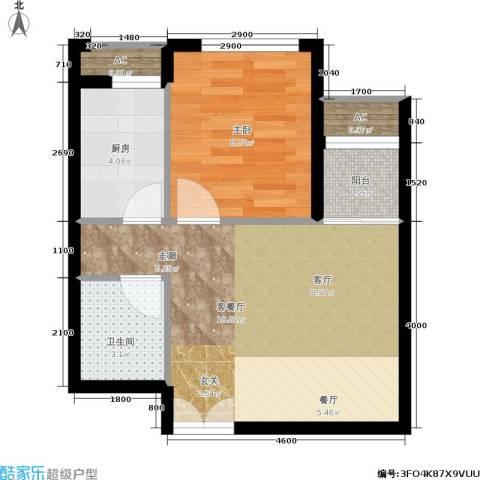 东亚望京中心1室1厅1卫1厨55.00㎡户型图