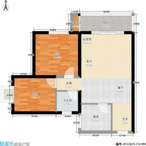 简约花园2室0厅1卫1厨71.00㎡户型图