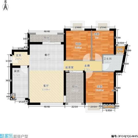 万科城市花园3室0厅1卫1厨91.00㎡户型图