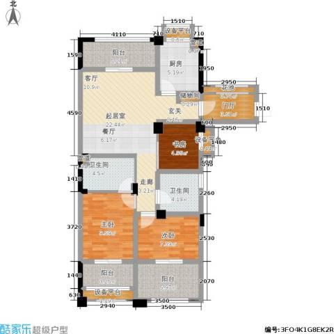 中港翡翠城3室0厅2卫1厨97.00㎡户型图