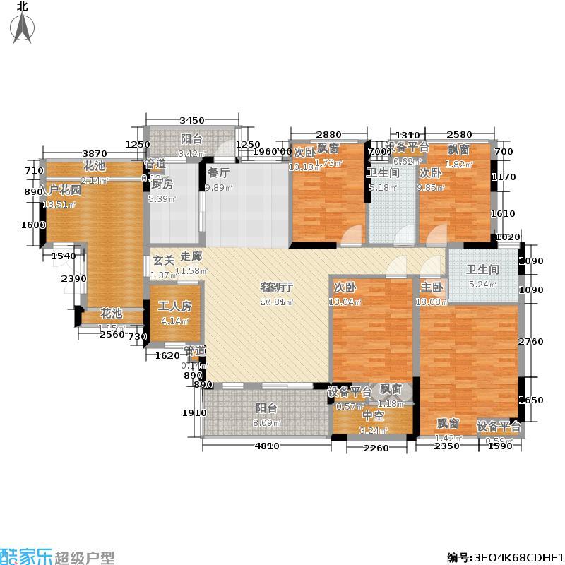 招商澜园户型图8、9栋A单元C+D户型四房二厅二卫(5/16张)