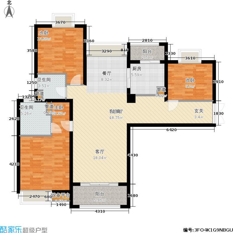 扬州国际公馆128.00㎡二期C1户型