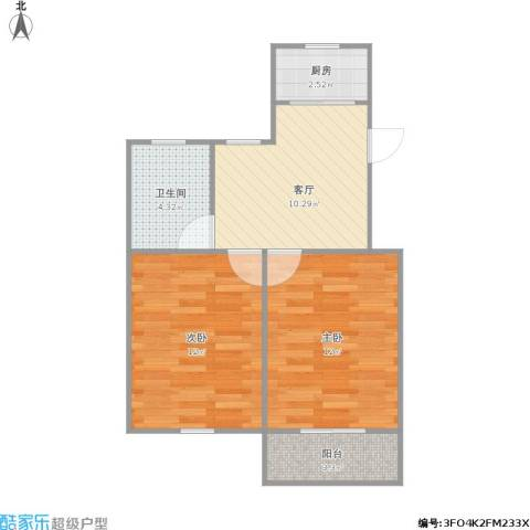 泗塘五村2室1厅1卫1厨60.00㎡户型图