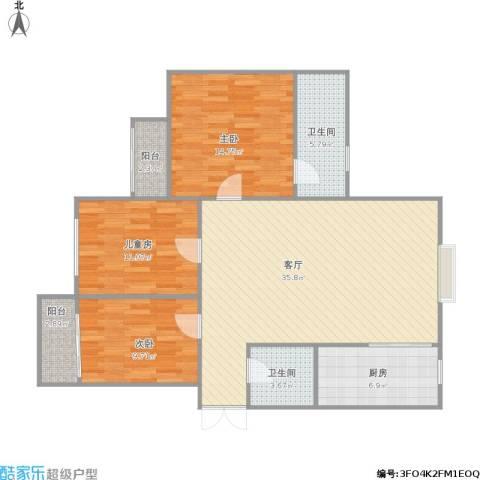 锦绣豪庭3室1厅2卫1厨125.00㎡户型图