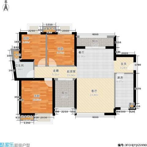 万科城市花园3室0厅1卫1厨90.00㎡户型图