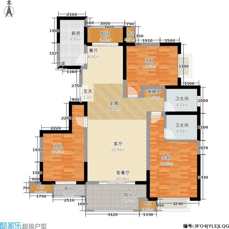 中国铁建梧桐苑141.00㎡F13面积14100m户型