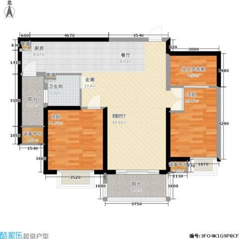 扬州国际公馆2室1厅1卫0厨86.00㎡户型图