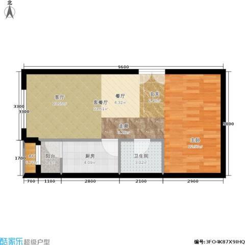东亚望京中心1厅1卫1厨60.00㎡户型图