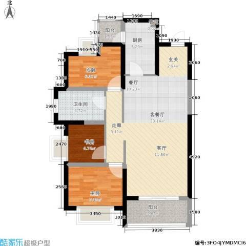 紫薇东进3室1厅1卫1厨117.00㎡户型图