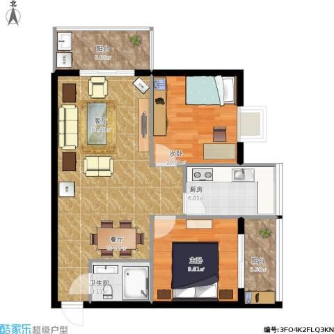 凤凰新城2室1厅1卫1厨91.00㎡户型图