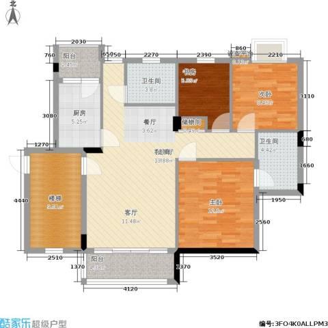 新华苑3室1厅2卫1厨102.00㎡户型图