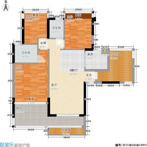 碧水龙庭二期3室1厅2卫1厨107.11㎡户型图