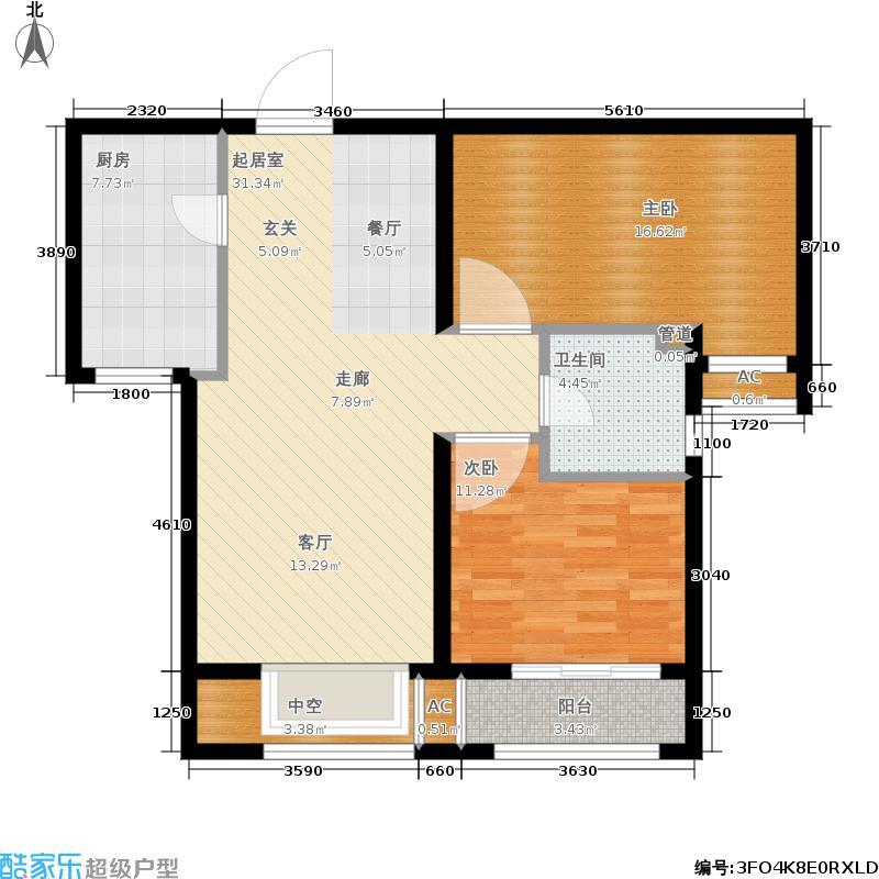 安联水晶坊2室2厅1卫 91.28平米户型