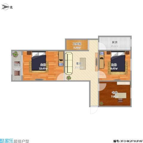 甘家口10号楼3室1厅1卫1厨72.00㎡户型图
