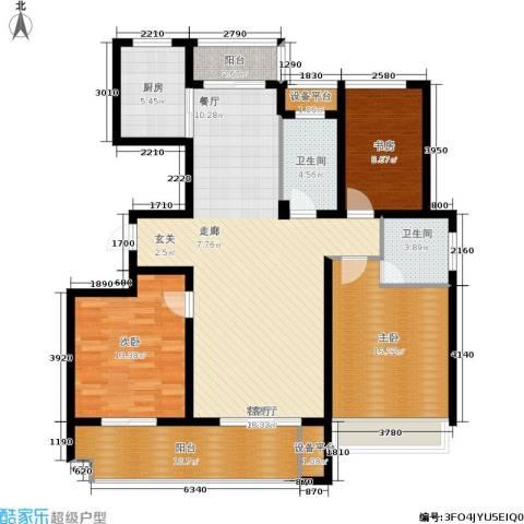 锦绣江南3室1厅2卫1厨121.08㎡户型图