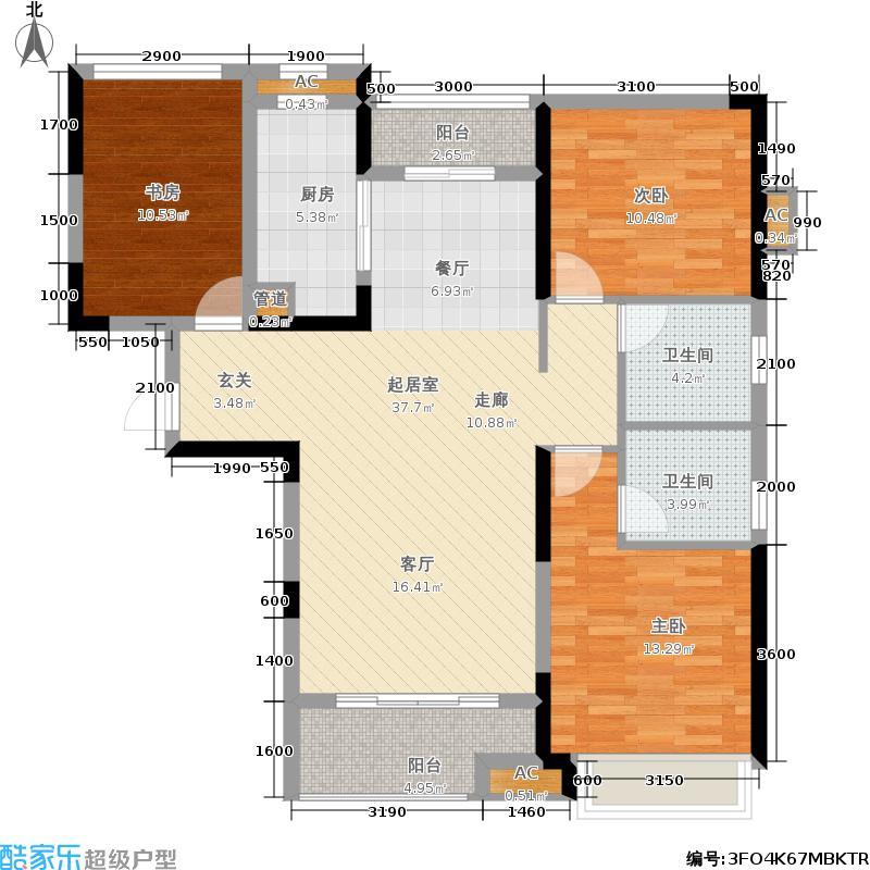 新建中心123.80㎡F户型3室2厅2卫