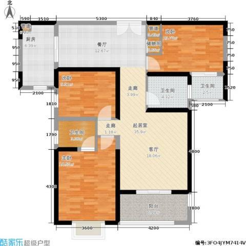 曲江观山悦3室0厅3卫1厨128.00㎡户型图