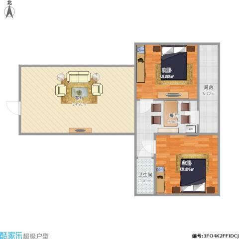 玉函小区2室2厅1卫1厨85.00㎡户型图