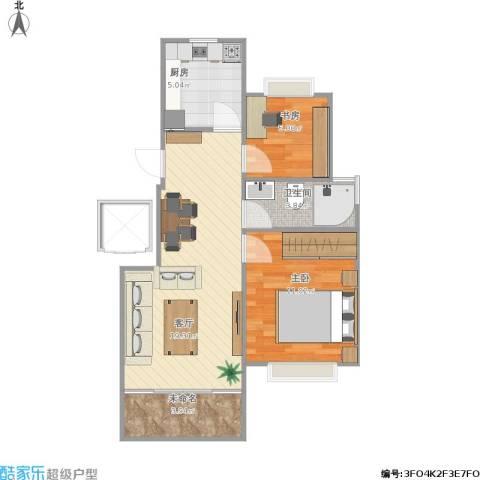 万科时一区2室1厅1卫1厨66.00㎡户型图