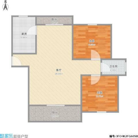 绿洲康城亲水湾一期2室1厅1卫1厨82.00㎡户型图