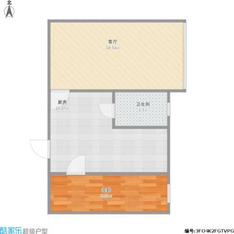 模式口南里1室1厅1卫1厨62.00㎡户型图