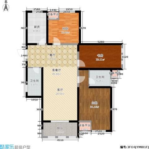 中天锦庭3室1厅2卫1厨142.00㎡户型图