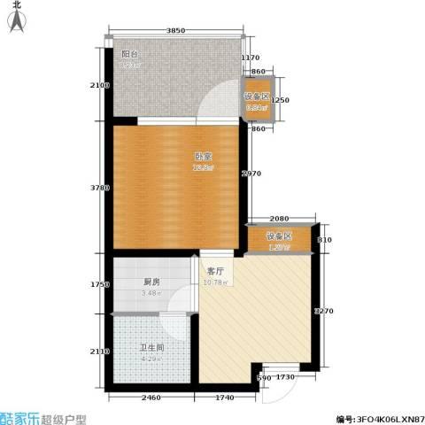 龙潭·温泉印象1厅1卫1厨42.00㎡户型图