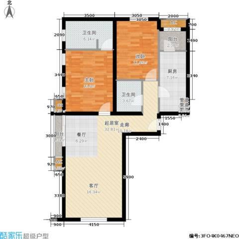 百子湾家园2室0厅2卫1厨114.00㎡户型图