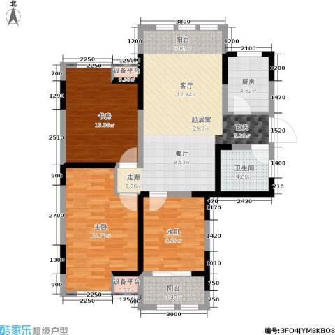 中天锦庭3室0厅1卫1厨90.00㎡户型图