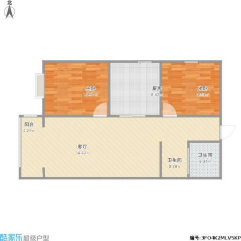 右安东里2室1厅1卫1厨90.00㎡户型图