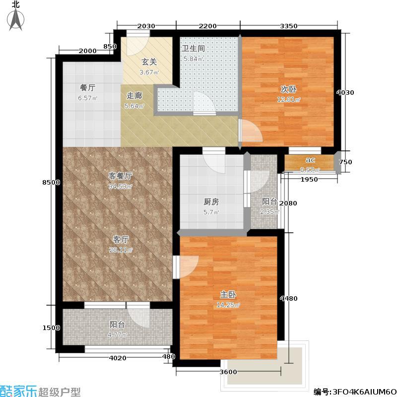 天津湾海景文苑113.00㎡A2反户型2室2厅1卫