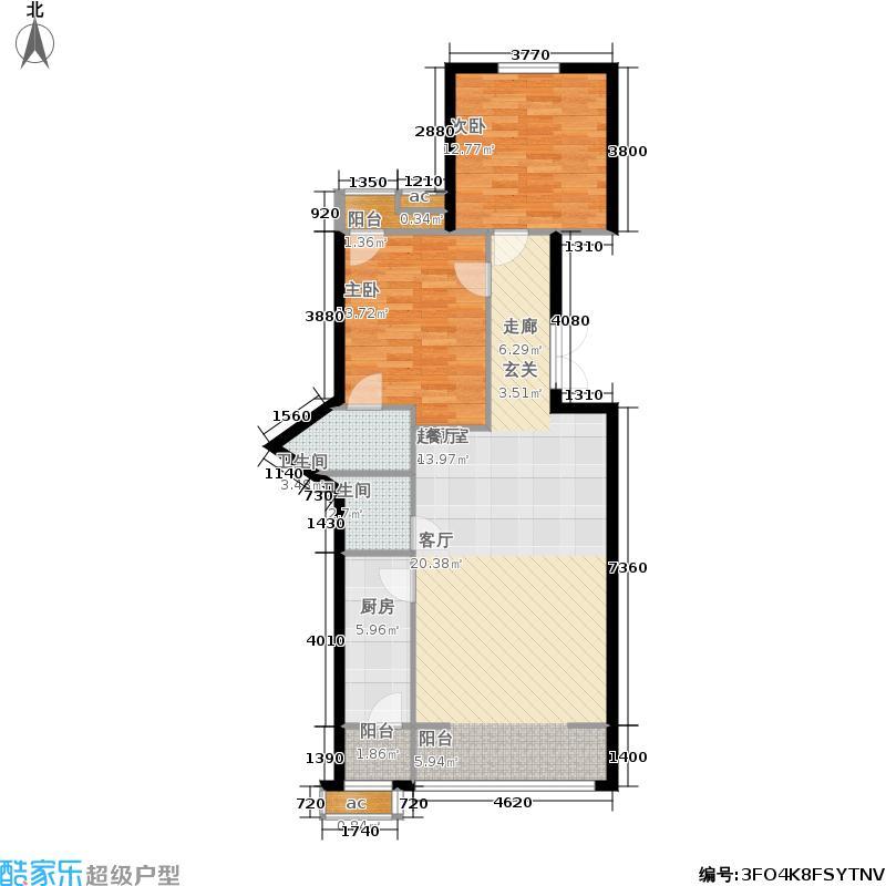 里外里公寓150.41㎡单元J户型两室两厅两卫户型