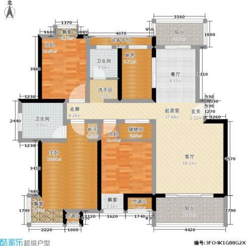东盛・盛世城3室0厅2卫1厨129.00㎡户型图
