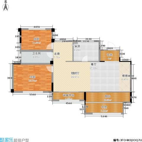 金地松江艺境2室1厅1卫1厨137.00㎡户型图