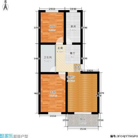 西湖庄园2室1厅1卫1厨71.40㎡户型图