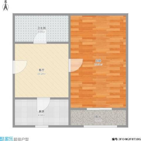 科苑新村1室1厅1卫1厨57.00㎡户型图