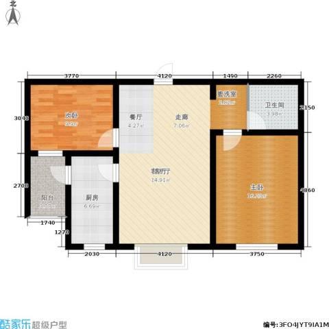 西湖庄园2室1厅1卫1厨79.40㎡户型图