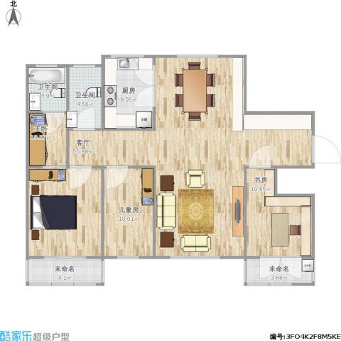 服装一厂3室1厅2卫1厨161.00㎡户型图
