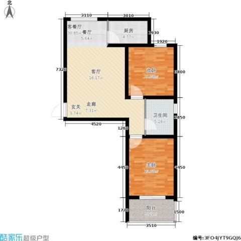 西湖庄园2室1厅1卫1厨81.40㎡户型图