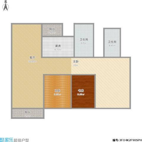 香晖园2室1厅2卫1厨129.00㎡户型图