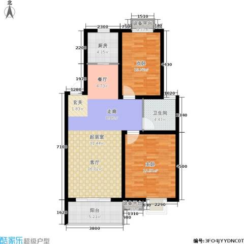 垠领城市街区2室0厅1卫1厨87.00㎡户型图