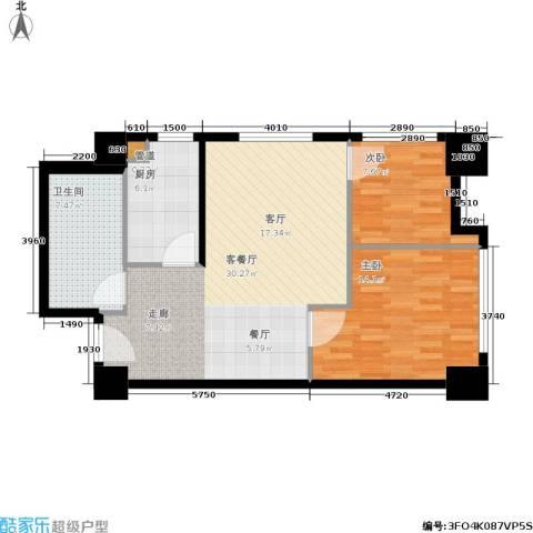 小寨金莎2室1厅1卫1厨92.00㎡户型图