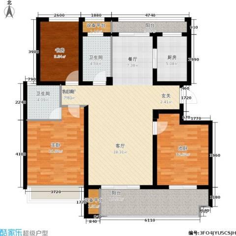 锦绣江南3室1厅2卫1厨116.55㎡户型图