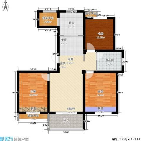 锦绣江南3室1厅1卫1厨102.74㎡户型图